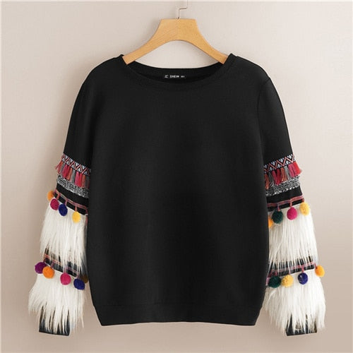 Black Faux Fur Tassel Sweatshirt