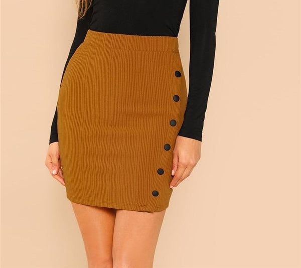Khaki Button Short Wrap Skirt