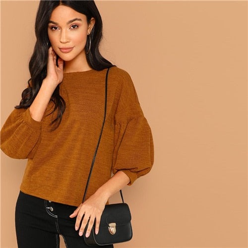 Brown Lantern Sleeve Top
