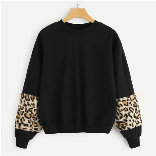 Black Leopard Faux Fur Sweatshirt
