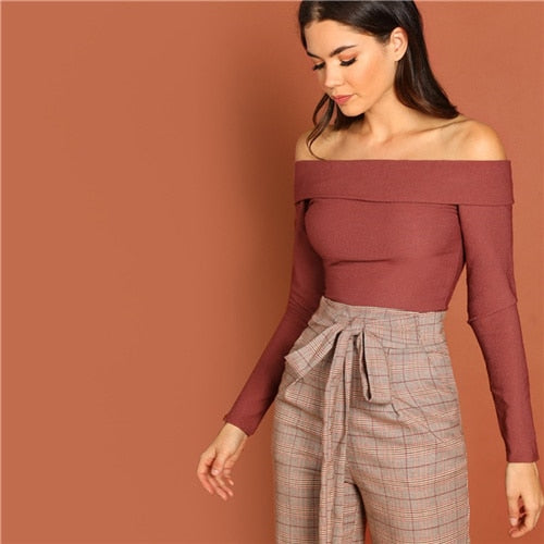 Burgundy Off Shoulder Crop Top