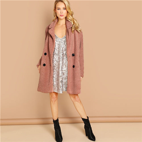 Pink Double Button Teddy Coat