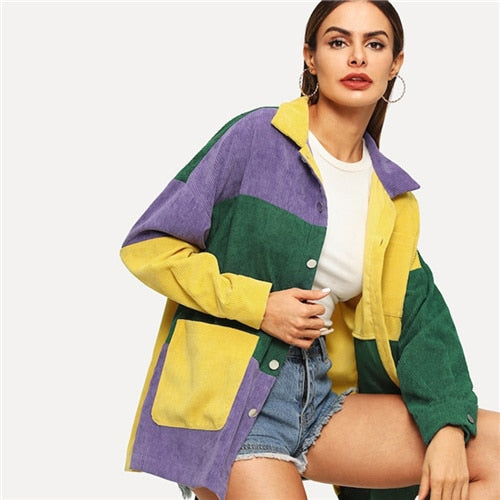 Multicolor Corduroy Casual Jacket