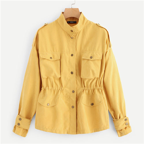 Yellow Casual Button Jacket
