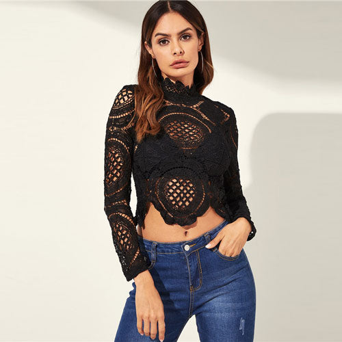 Black Hollow Out Lace Crop Top