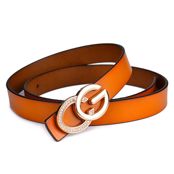 CG Genuine Leather Metal Buckle Belt