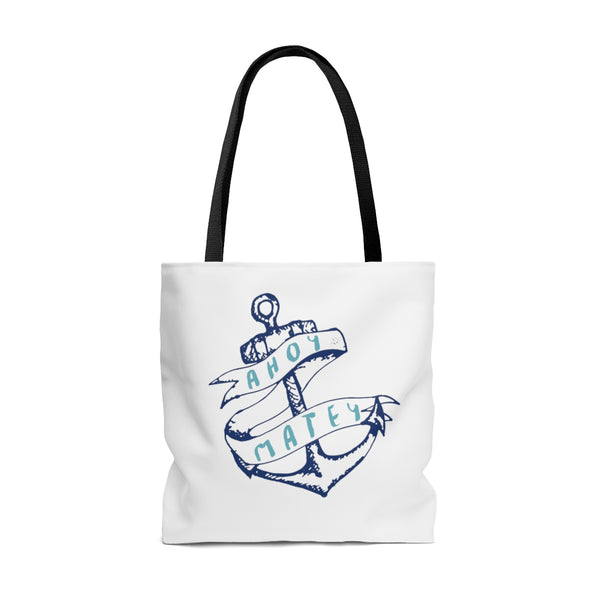Ahoy Matey Anchors Away Nautical Tote Bag