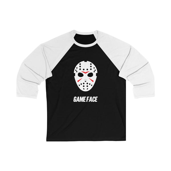Game Face Hockey Unisex 3/4 Sleeve Baseball Tee Black/White