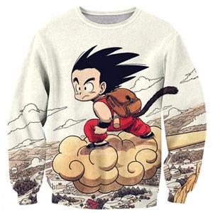 Anime Dragon Ball Z Kid Goku and Master Roshi 3d Print Men Women Crewneck Pullover Sweatshirt