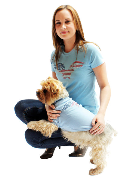 American Eagle Blue GlamourGlitz Dog T-Shirt - as worn by a dog