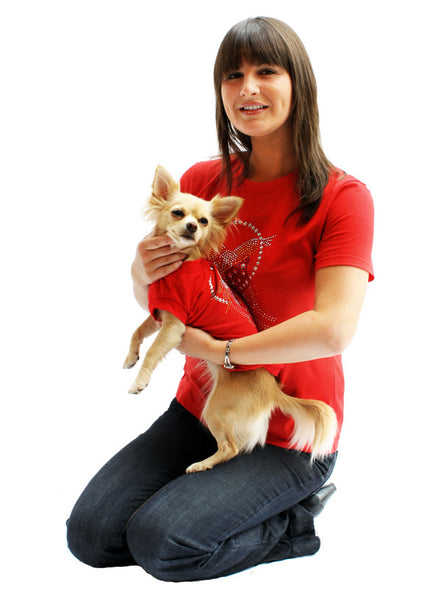 American Eagle Red GlamourGlitz Dog T-Shirt - worn