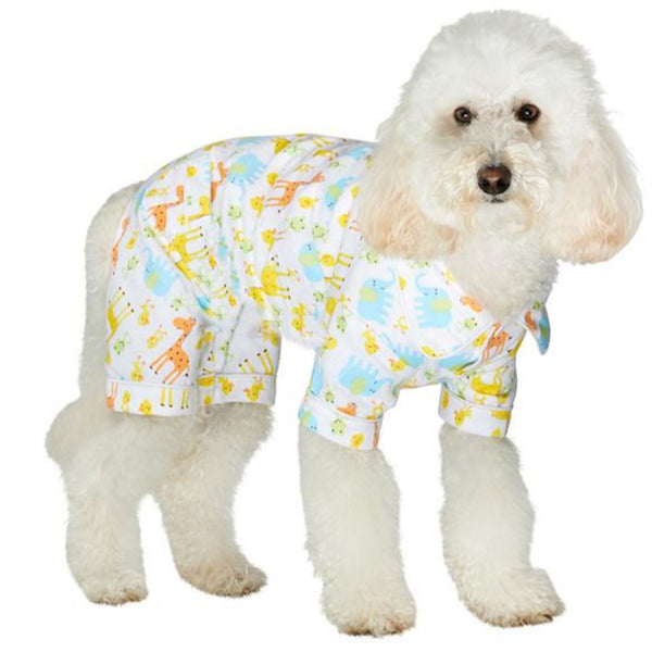 Animal Print Bedtime Dog Pyjamas - modelled