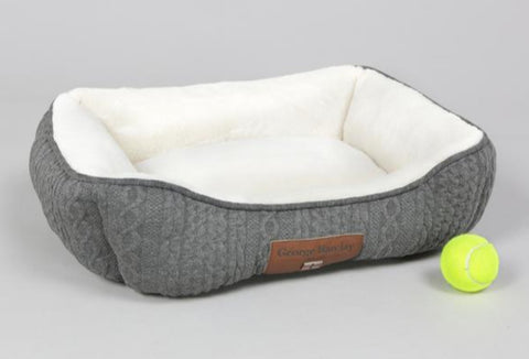 Aran Knit Dog Bed - Blue or Grey