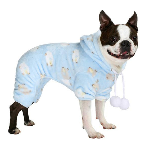 Baby Blue Counting Sheep Onesie Pyjamas - modelled by dog