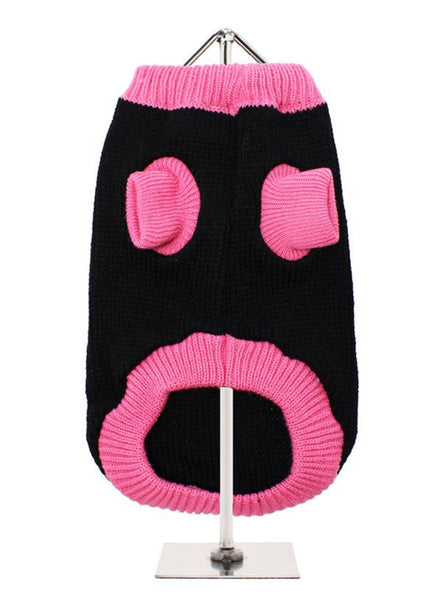 Black & Pink Mod Dog Sweater  - Reverse Side
