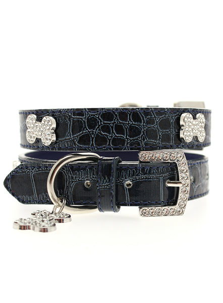 Blue Crocodile Leather Diamante Collar / Diamante Bone Charm & Lead Set 1