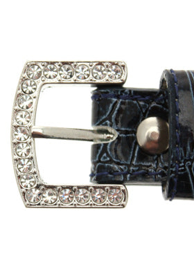 Blue Crocodile Leather Diamante Collar / Diamante Bone Charm & Lead Set Buckle