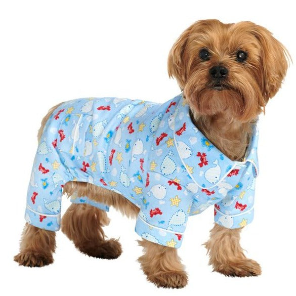Blue Ocean Bedtime Dog Pyjamas Modelled by Dog