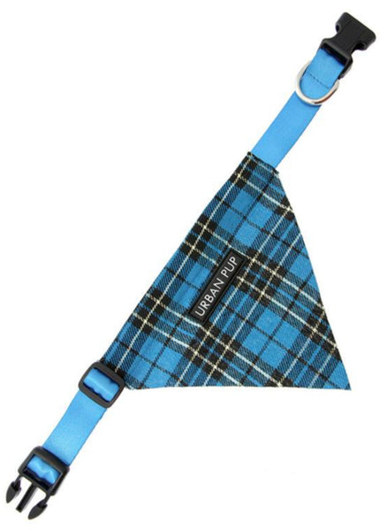 Blue Tartan Dog Bandana Collar