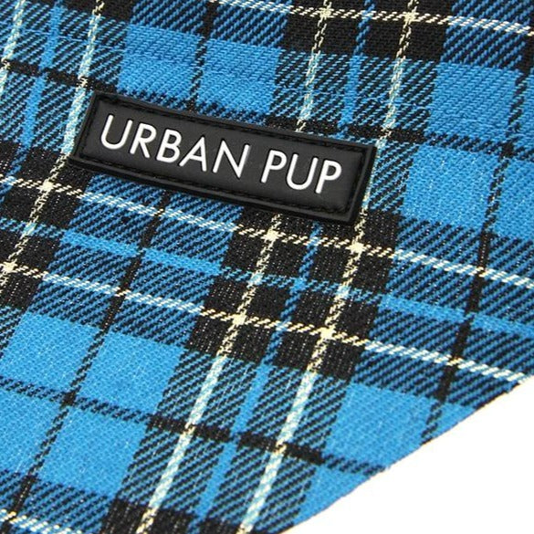 Blue Tartan Dog Bandana Detail