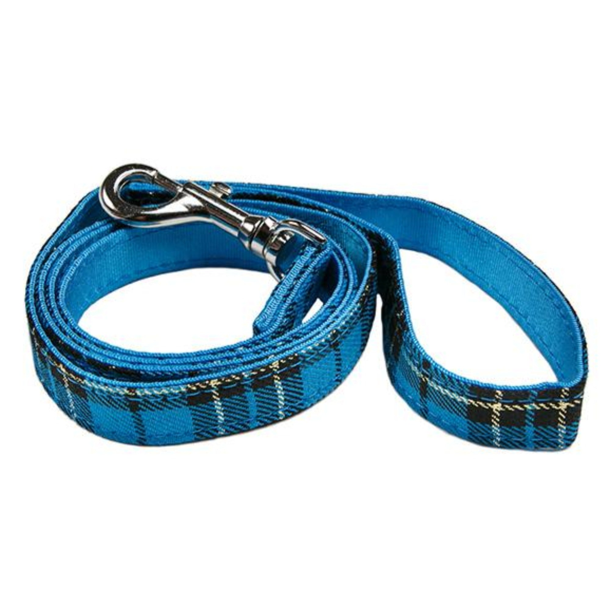 Blue Tartan Fabric Dog Lead