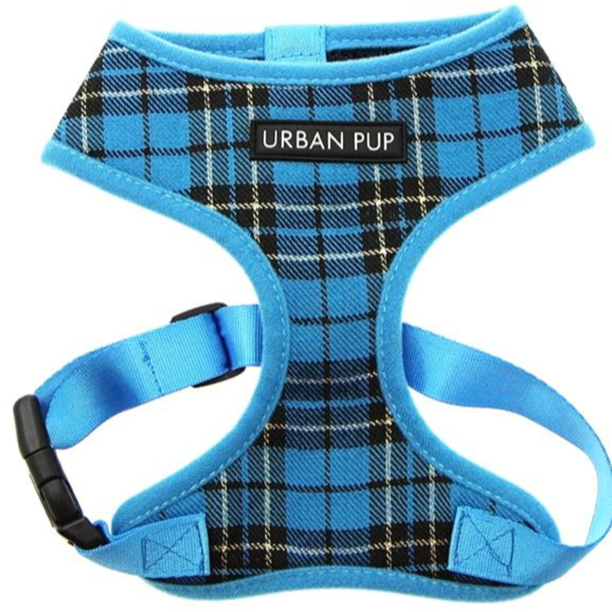 Blue Checked Tartan Dog Harness By Urban Pup