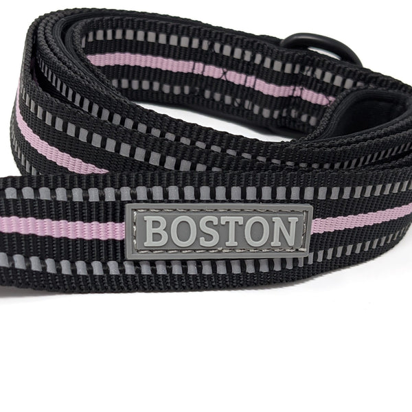Boston Pet Fabric Lead In Black & Pink