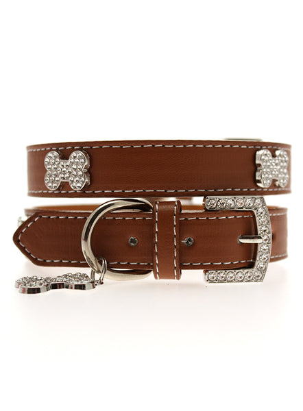 Brown Leather Diamante Collar / Diamante Bone Charm & Lead Set 1