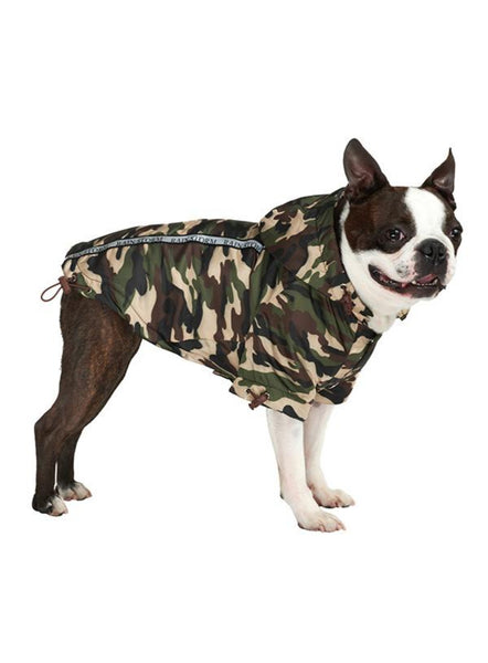 Rainstorm waterproof dog coat - camouflage being worn