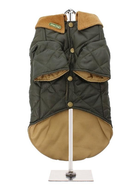 Forest Green Quilted Town & Country Dog Coat - Reverse