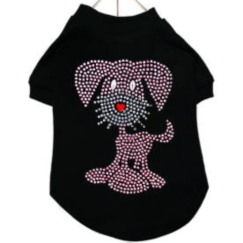 GlamourGlitz Pup Dog T-Shirt - Black