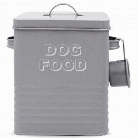 Metal Dog Food Storage Tin - Grey