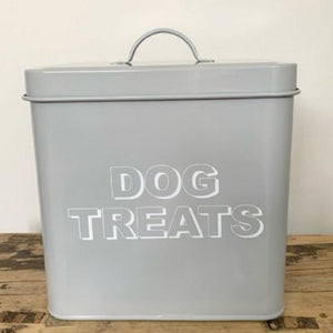 Metal Dog Treats Storage Tin - Grey
