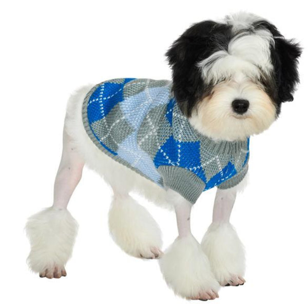 Grey / Blue Argyle Dog Sweater - Modelled by Dog