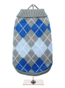 Grey / Blue Argyle Dog Sweater