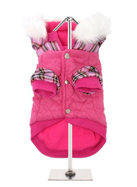 Highland Lady Quilted Tartan Dog Coat - Reverse