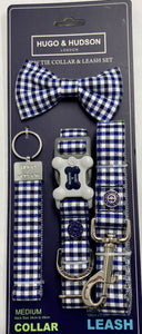 Blue and Navy Checked Dog Accessory Set