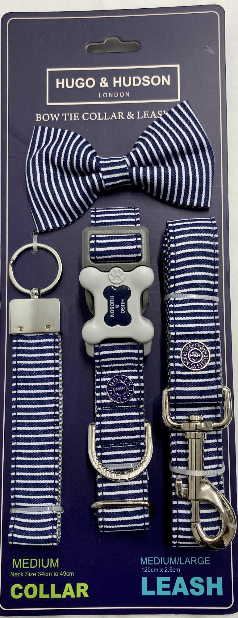 Navy Stripe Dog Accessory Set