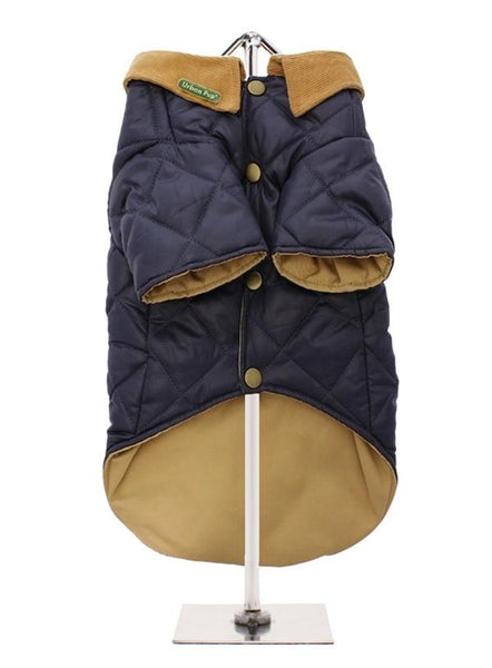 Navy Blue Quilted Town & Country Dog Coat - Reverse
