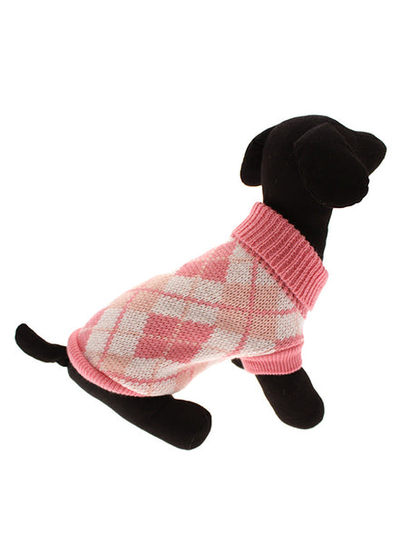 Pink Argyle Dog Sweater - Modelled by Dog 2