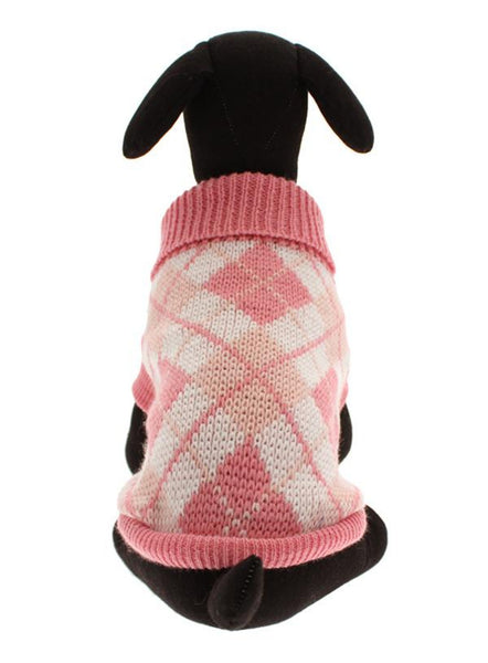 Pink Argyle Dog Sweater - Modelled by Dog