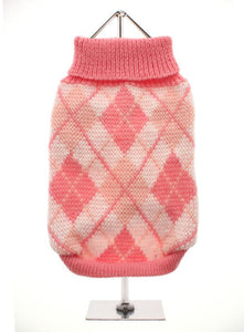 Pink Argyle Dog Sweater