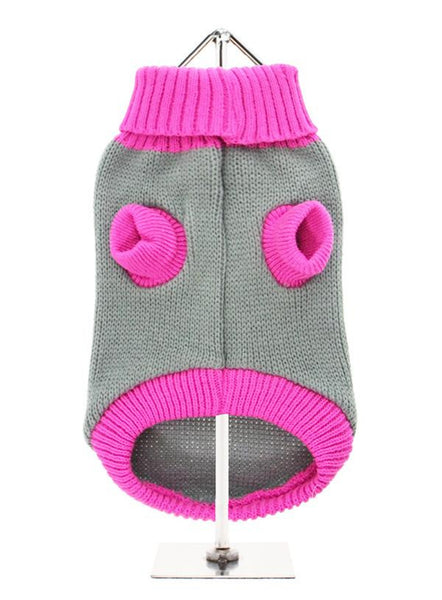 Pink Paw Dog Sweater - Reverse