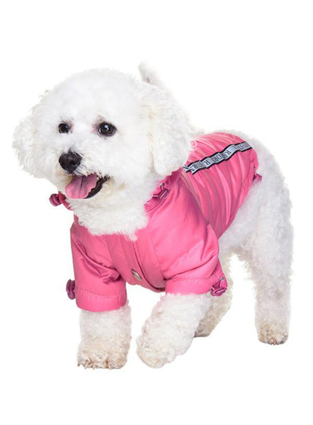 Rainstorm Waterproof Dog Coat - Pink - Modelled by Dog