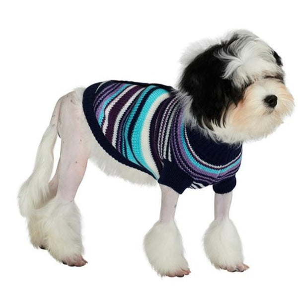 Purple Striped Mod Dog Sweater - Modelled by Dog