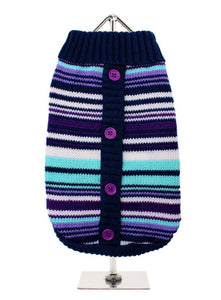 Purple Striped Mod Dog Sweater