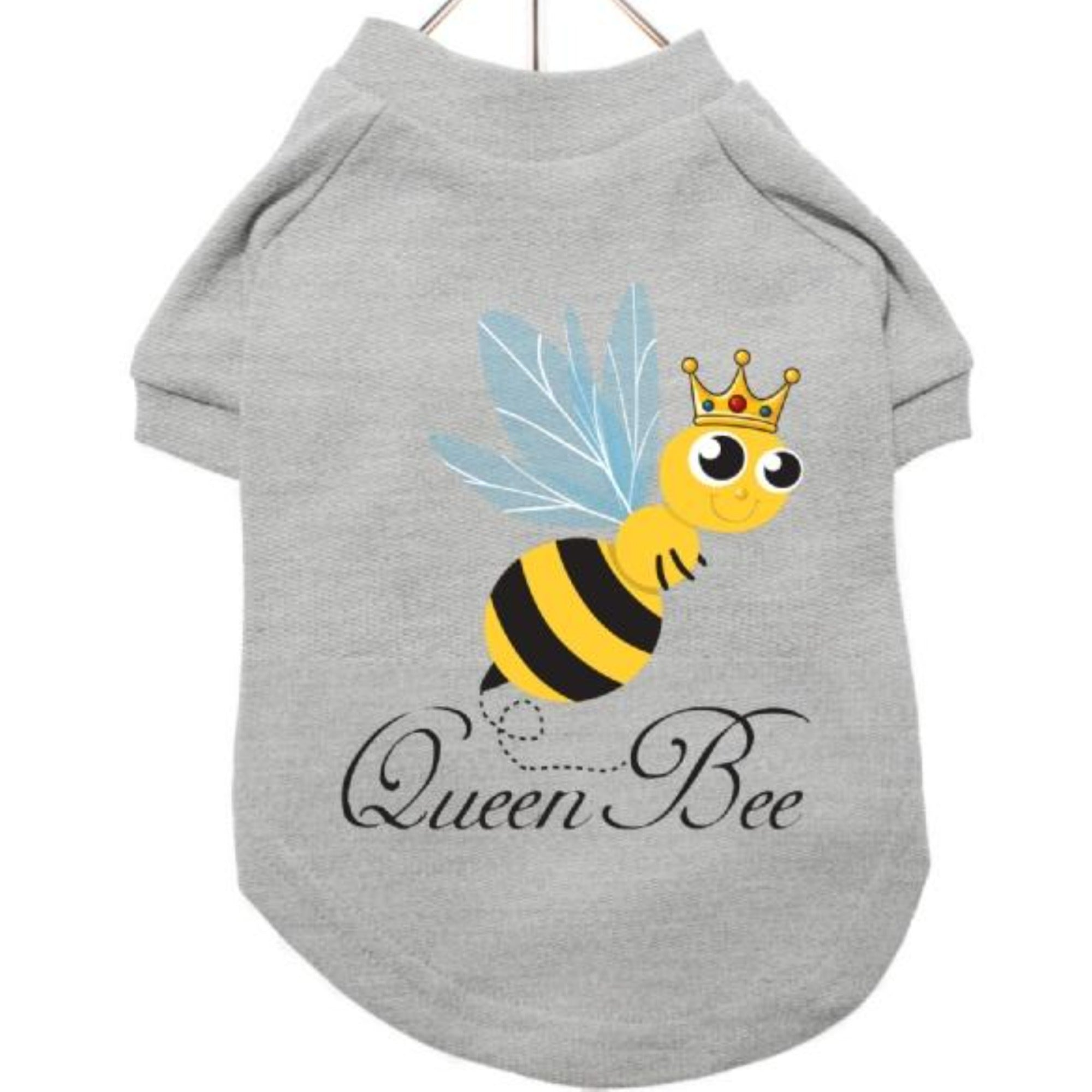 Dog T-Shirt with Queen Bee Motif in Grey