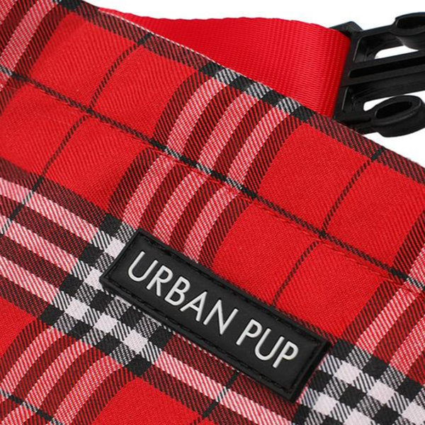 Red Checked Tartan Dog Bandana - Detail