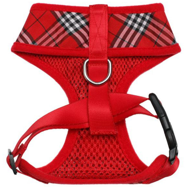 Red Checked Tartan Dog Harness - Reverse