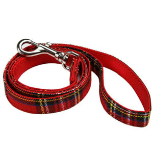 Red Tartan Fabric Dog Lead
